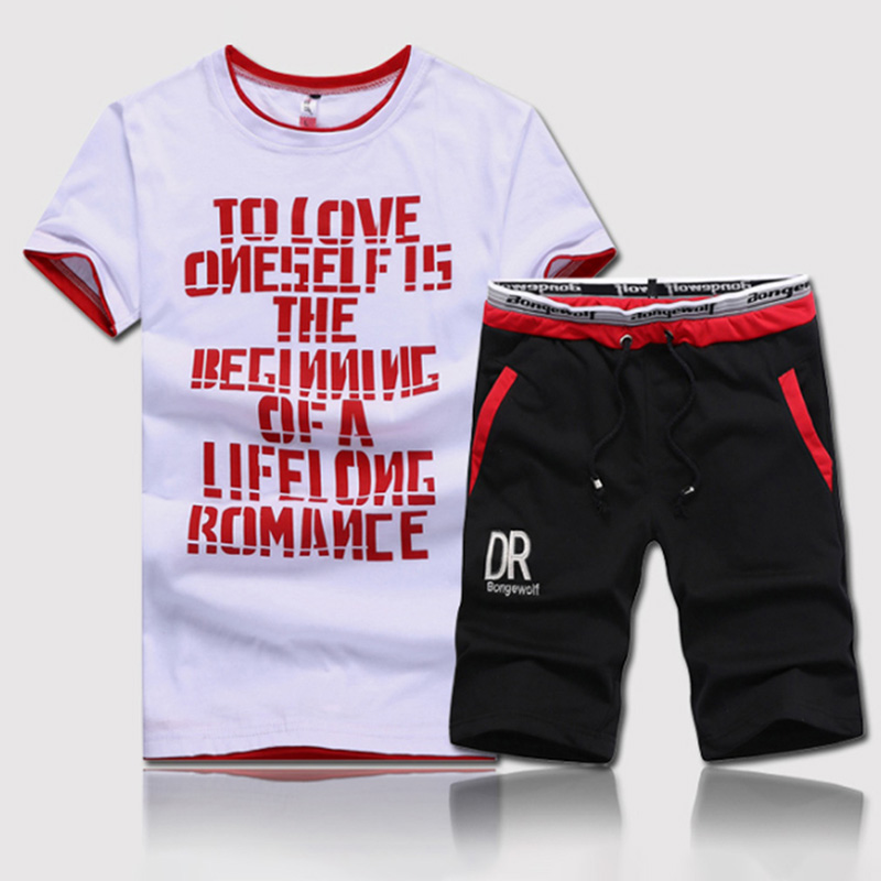 Fitness Clothes 2020 New Fashion Summer Men Sets 2 Pieces Sets Man Casual O-neck Letters Printed T-Shirt + Drawstring Shorts