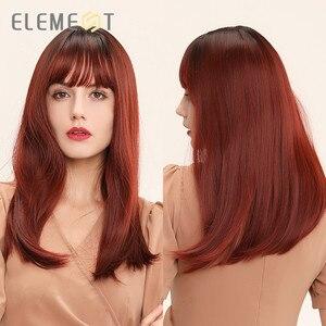 Image 5 - Element syntetyczne długie proste Ombre brązowy na złoty blond peruki z schludnym grzywką dla białych/czarnych kobiet