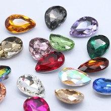 10pcs/pack Glass Crystal Rhinestones 3D Water Drop Stones Nail Art Decoration Strass Polishing Charm Design Accessories Jewelry