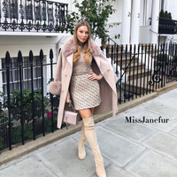 2019 Autumn and Winter Pure Wool Coat Casual Fox Fur Collar Cardigan Handmade Cashmere Double Sided Jacket elegant design