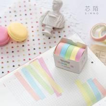 5PCS/Pack Decorative Washi Tape Macaron Colored Sticker Masking Paper Set DIY Scrapbooks Journals Adhesive Tape School Supplies