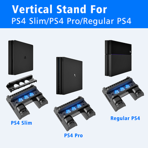 Image 2 - OIVO PS4/PS4 Slim/PS4 Pro Vertical Cooling Stand Dual Controller Station Chargers Game storages LED Fan For SONY Playstation 4