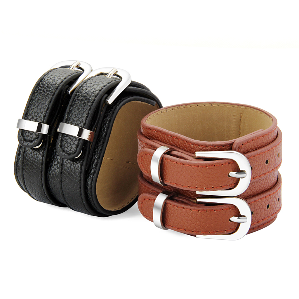 5cm Wide Cow Leather Cuff Bracelet Wristband Strap Buckle Mens Women Bangle