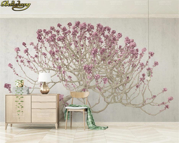 beibehang Custom 3d wallpaper mural 3d stereo flowering tree modern minimalist background wall painting papel de parede