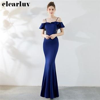 Sling Mermaid Evening Dresses 2019 Long Plus Size Women Party Dresses DX283-2 Sexy Robe De Soiree Ruffles Appliques Formal Dress