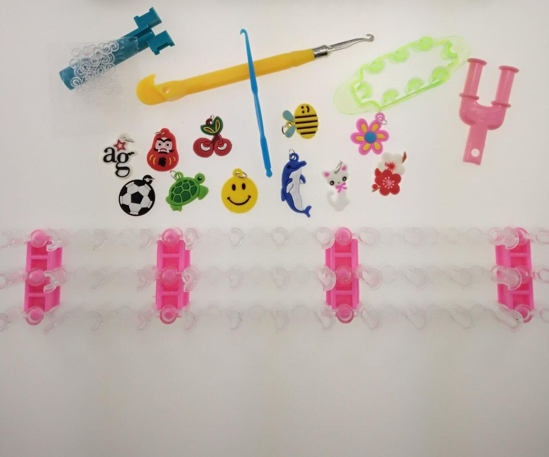loom rubber bands bracelet for kids or hair Colorful rubber loom bands make woven bracelet DIY toys Christmas 2020 Gift