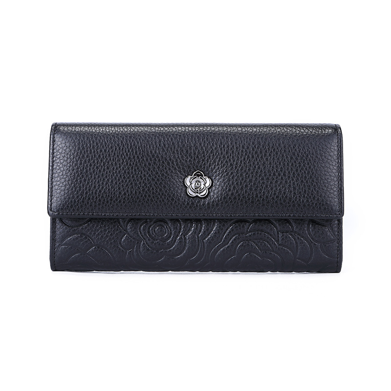Nouveau cuir véritable concepteur gaufrage portefeuilles femmes portefeuille mode argent sac téléphone portable poche dames de luxe longs Purs