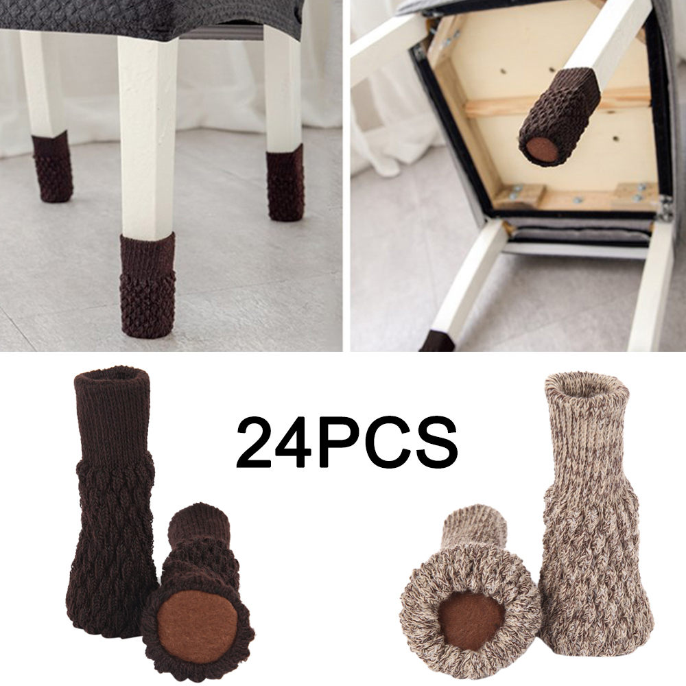 24PCS Knitted Chair Foot Cover Non-slip Table Legs Chair Legs Furniture Foot Socks Floor Protection Pads Moving Noise Reduction
