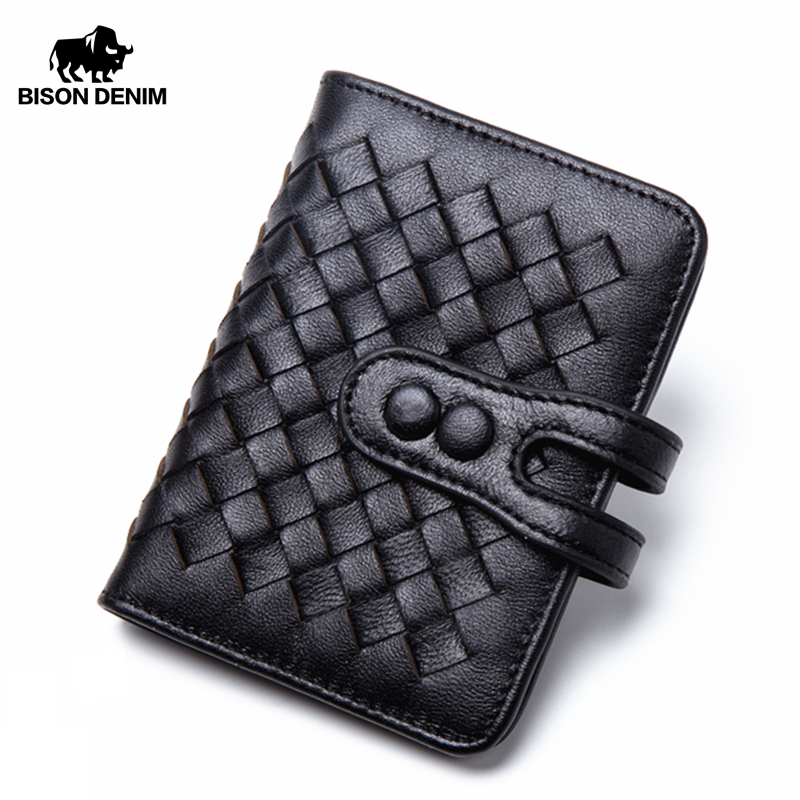 BISON DENIM Cowhide Leather Male Wallets Hasp ID Card Holder Wallet Weaving Design 30 Cards Portefeuille N9313