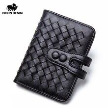 バイソンデニム牛革本革クレジットカードホルダー財布男性ウィービングデザインビジネス高級idパスポートカード財布N9313