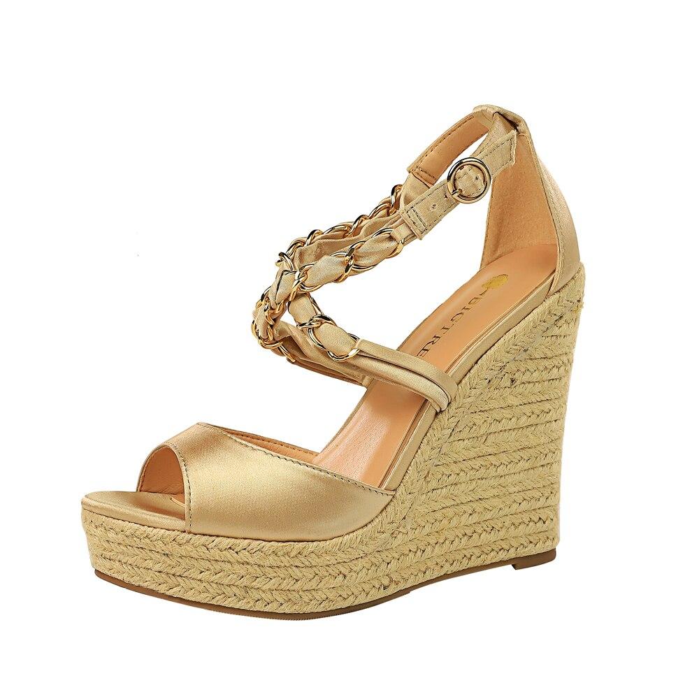 Or jaune femmes été bout ouvert chaussures couverture talon boucle plate-forme femmes sandales solide robe talons hauts chaussures à semelles compensées 892-1