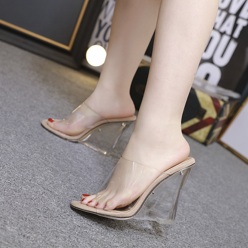 Sexy Wedge Heel Women's Slippers Transparent Crystal High Heels Summer Women Sandals Peep Toe Woman Shoes Beige Black Slides