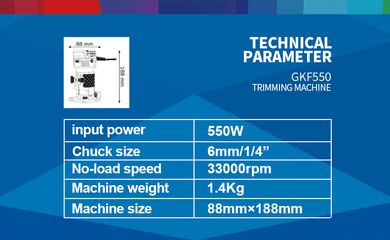 Technical parameters of Bosch 550W Woodworking