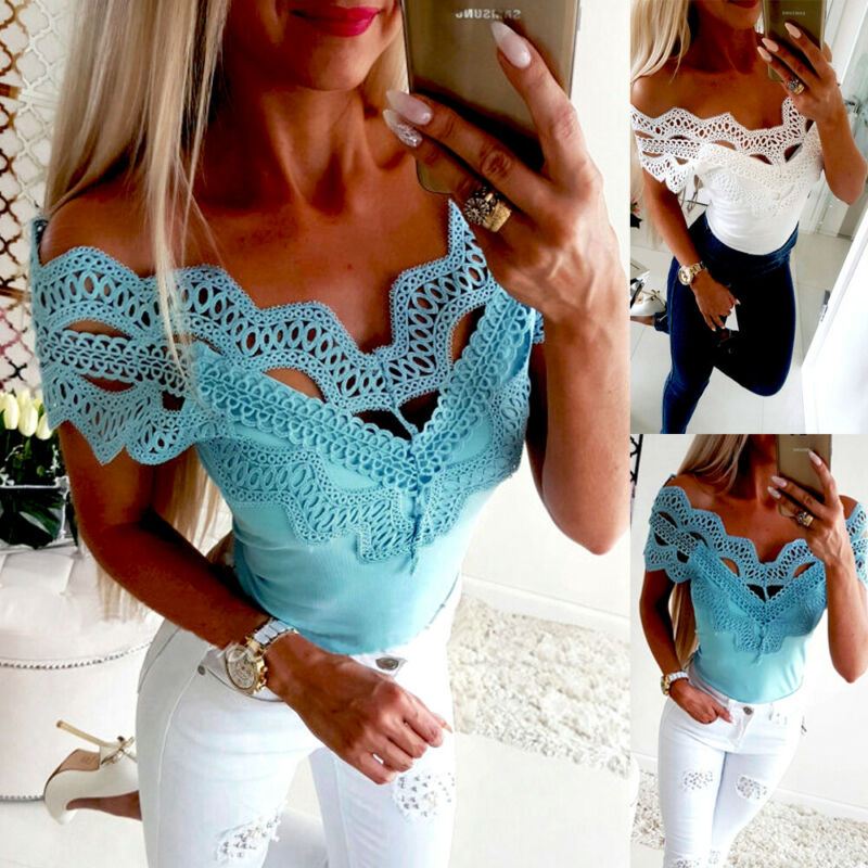 Fashion Women Summer Boho  Ladies Casual Off Shoulder Sleeveless Lace Stitching Short Sleeves Tops & Tees
