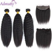 Mèches péruviennes Remy avec Lace Frontal-Admutty Hair | Cheveux crépus lisses, 13*4, Extensions de cheveux naturels avec Closure