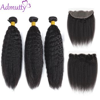 Admutty Hair peruwiański perwersyjne pasma prostych włosów z koronkowym czołem 13*4 pasma włosów typu remy z zamknięciem doczepy z ludzkich włosów tanie i dobre opinie Kinky prosto Nie remy włosy Ciemniejszy kolor tylko Przestawianie 3 sztuk wątek i 1 pc zamknięcia Peruwiański włosów