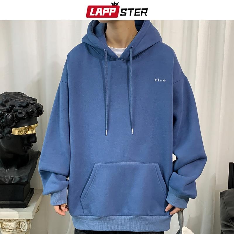 LAPPSTER Men Embroidery Sprint Hooded Hoodies 2020 Mens Oversized Korean Harajuku Sweatshirts 7 Colors Black Oversized Hoodie