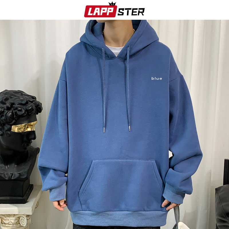 LAPPSTER Men Embroidery Fleece Hooded Hoodies 2020 Mens Oversized Korean Harajuku Sweatshirts 7 Colors Black Oversized Hoodie