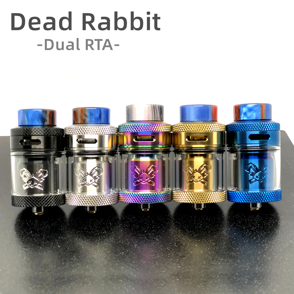 Dead Rabbit RTA 25mm 2ML/4.5ML Atomizer With Resin Drip Tip Single/Dual Coil Rebuild MTL RTA Tank