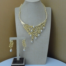 Yuminglai Latest  Italian Design 24K Dubai Costume Jewelry Sets FHK7109
