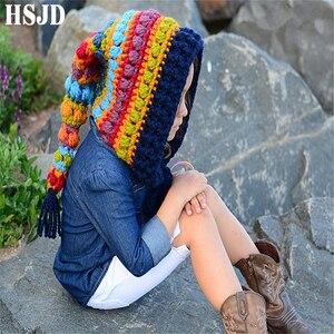 Image 2 - Kids Winter Hats Handmade Crochet Elf Beanie Hat Children Warm Knitted Rainbow False Collar Elf Hat Hooded Cap Boy Girl Xmas Cap