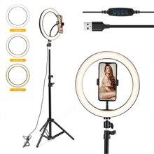 10 אינץ צילום LED Selfie טבעת אור וידאו אור Dimmable USB טבעת מנורת עם חצובה Stand עבור איפור Youtube Tik tok חי