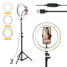 Anel de luz de led para fotografia, luz de anel de luz de led para selfie, lâmpada de anel usb regulável com suporte de tripé para maquiagem, youtube tok ao vivo