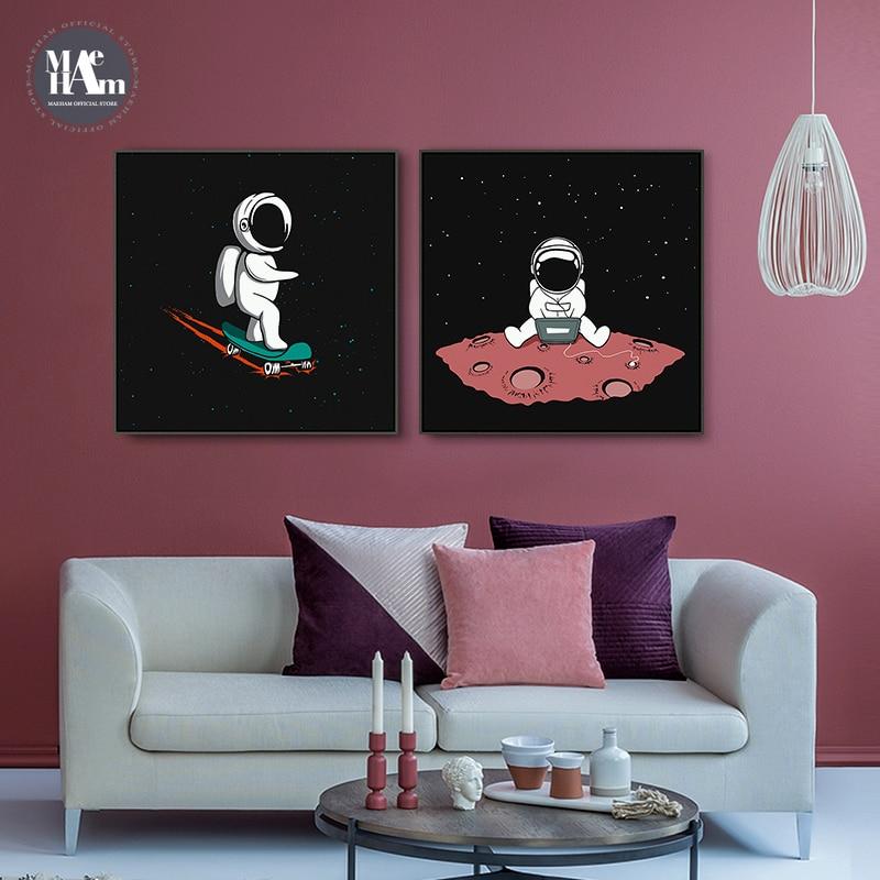 NURSERY SPACE SHIP ROCKET SPACEMAN EARTH KIDS BEDROOM Poster Canvas art Prints