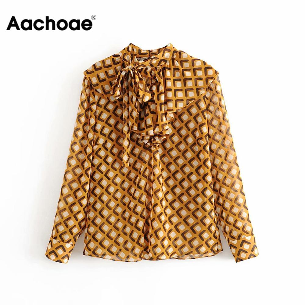 Women Bow Tie Print Blouse Elegant Long Sleeve Ladies Ruffle Tops Casual Blouses Female Office Tunic Shirt Chic Blusas