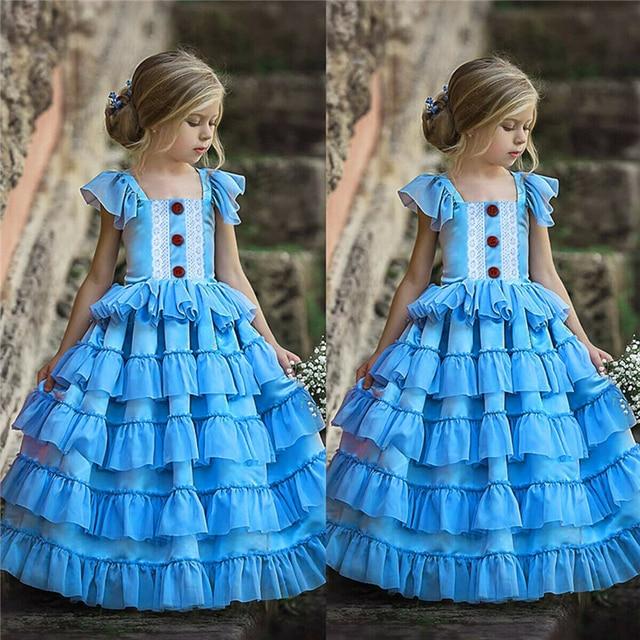Noworodka sukienki dla dziewczynki letnia impreza druhna ślubna niebieska sukienka dziewczynek koronki Vestido Infantil 1 5 rok kostium księżniczki