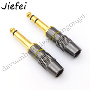 Image 3 - 10 100Pcs New Jack 6.3 Smoothly Gold plating 6.35mm 3 Pole Stereo / 2 Pole Mono Plug Assembly Wire Connector Gunmetal Audio Plug