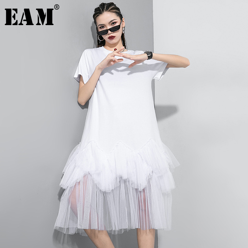 [EAM] Women Gray Mesh Asymmetrical Long Dress New Round Neck Short Sleeve Loose Fit Fashion Tide Spring Summer 2020 1T297