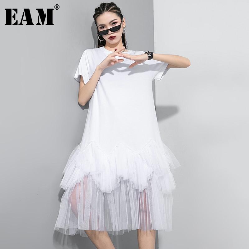 [EAM] Women Gray Mesh Asymmetrical Long Dress New Round Neck Short Sleeve Loose Fit Fashion Tide Spring Summer 2020 1T297