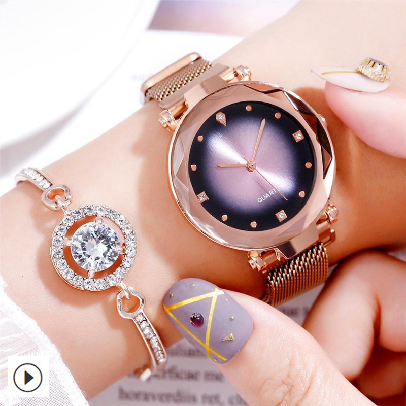 Fashion Diamond Women Watches Luxury  Rose Gold Ladies Starry Sky Magnet Watch Waterproof Female Wristwatch For Gift 2019