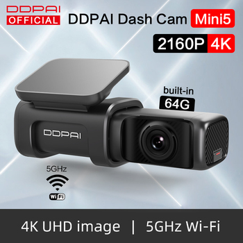 DDPai Dash Cam Mini5 4K 2160P UHD DVR Car Camera Android 5GHz Wifi Auto Drive Vehicle Video Recroder GPS Tracker Build-in 64GB