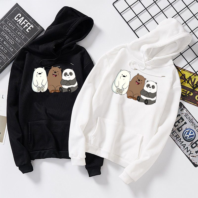 Anime Bears Printed Cute Hoodies Tops Plus Velvet Sweatshirts Coat Women Men Long Sleeve For Autumn Winter Streetwear Pullovers