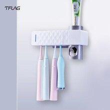 Tالعلم فرشاة الأسنان التطهير حامل معقم فرشاة الأسنان بالأشعة فوق البنفسجية التعقيم الجدار الشنق الحمام المنزل الذكي