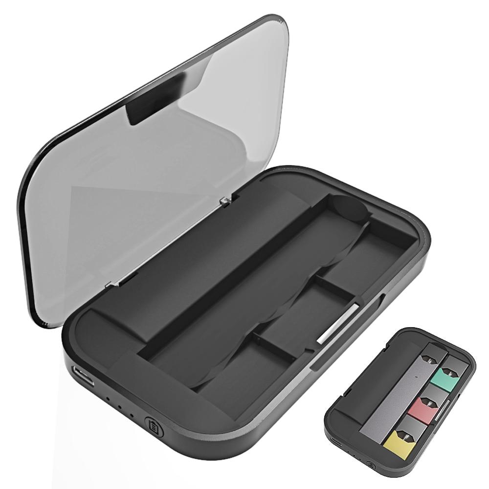 SHIODOKI 1200Mah cargador tipo batería externa caja para Juul estuche de carga soporte de almacenamiento con luz indicadora de led y cubierta magnética Cargador inalámbrico KUULAA Qi para iPhone 11 Pro 8 X XR XS Max 10W carga rápida inalámbrica para Samsung S10 S9 S8 cargador USB Pad