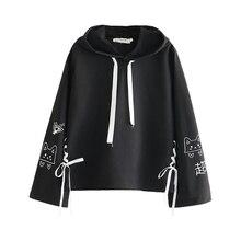 FROHE ZIEMLICH Cartoon Katze Drucken Mit Kapuze Sweatshirts 2020 Winter Frauen Langarm Harajuku Pullover Femme Baumwolle Spitze Up Hoodies