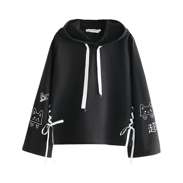MERRY PRETTY Cartoon Cat Print Hooded Sweatshirts 2020 Winter Women Long Sleeve Harajuku Pullovers Femme Cotton Lace Up Hoodies