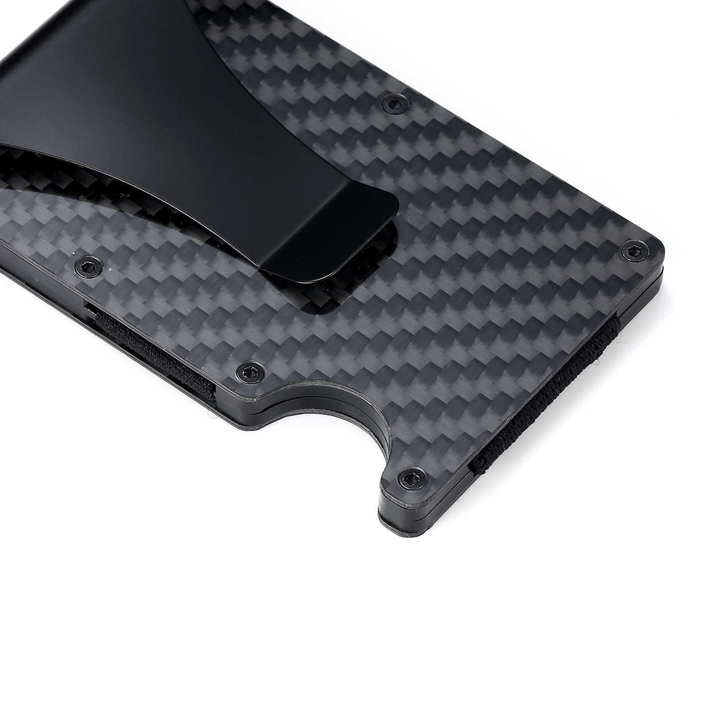 Bycobecy Carbon Faser Kreditkarte Halter Minimalistischen Brieftasche Aluminium Metall Anti RFID Sperrung Business Bank Card Halter Für Männer