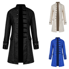 New Mens Steampunk Vintage Coat Stand Collar Single Breasted Solid Gothic Autumn Jackets Male Long Sleeve Slim Clothes Outerwear stand collar half breasted mens tee