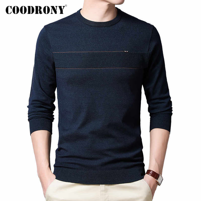 COODRONY marka ilkbahar sonbahar yeni varış kazak erkekler pamuk triko kazak erkek giyim moda rahat o-boyun çekme Homme C1035