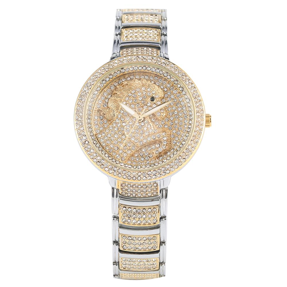Women's Quartz Analog Watch Creative Diamond-encrusted Horse Pattern Watch Elegant Luminous Pointer Quartz Analog Wristwatch