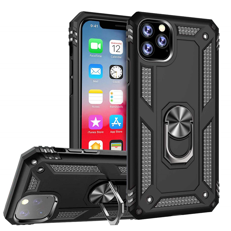 Shockproof Armor Kickstand Phone Case For iPhone 11 Pro XR XS Max X 6 6S 7 8 Plus Finger Magnetic Ring Holder Anti-Fall Cover(China)
