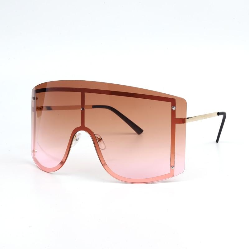 Oversized Women Blue Yellow Gradient Sunglasses Fashion Rimless Metal Female Shades Luxury Brand Designer Personality Eyewear 9