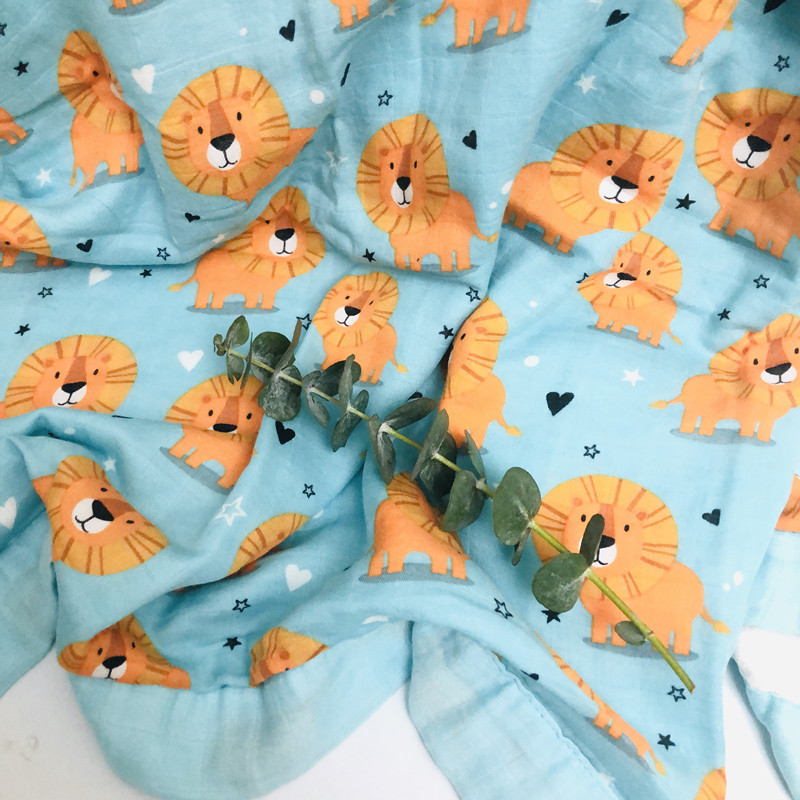 Lion  Layer Bamboo Baby Muslin Blanket  Muslin Tree Swaddle Better Than Aden Anais Baby/bamboo Blanket Infant Wrap