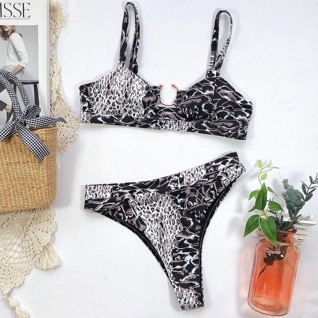 Leopard Cross Bandage Bikini Set Sexy Hollow Out Swimsuit Female Leopard Push Up Swimwear Women 2020 Bow Biquini Strap Beachwear 6