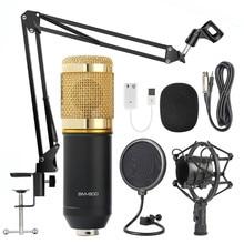 BM 800-micrófono de karaoke, condensador para estudio, karaoke, retransmisión de radio, canciones, grabación en ordenador