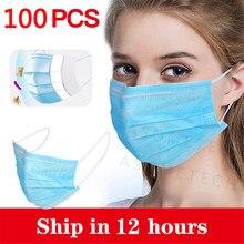 Masque facial jetable Non tissé à 3 couches avec plis, cache-nez respirant à boucles auriculaires
